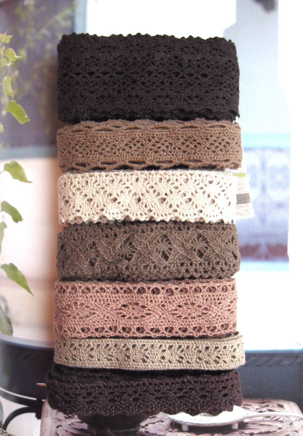 Cotton Lace Fabric Trim - Beige Brown Cream Floral Crochet Cotton Lace Ribbon Trim 7 Designs 14 Meters