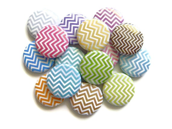 Chevron Buttons Pastel (Set of 15) Pin Back or Flat Back Buttons, Flatback Cabochon, Cabs, Chevron Pattern - PandaLoveShop