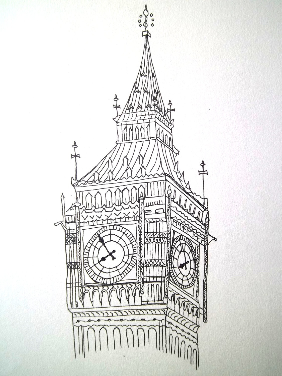 "Big Ben, London, original ink illustration, 9"" x 12"""