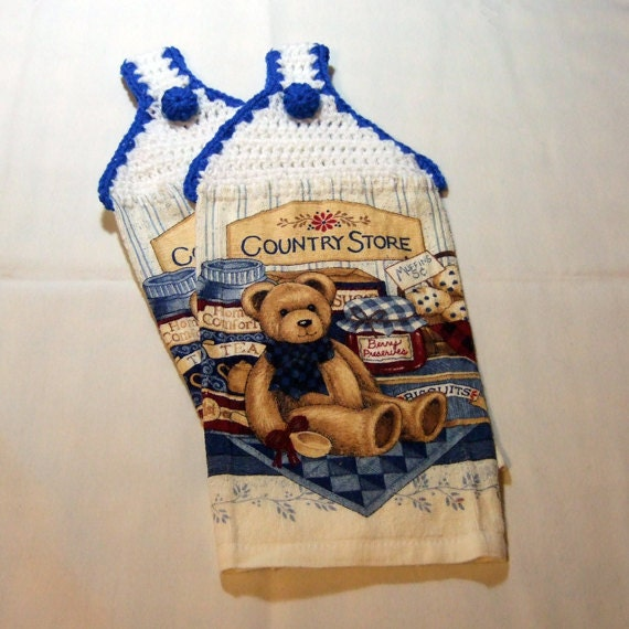 Country Bear Hanging Kitchen Towelsset of 2 by Kinues on Etsy