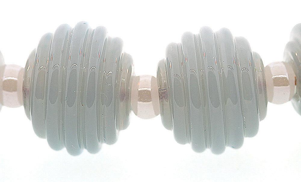 Handmade Translucent Blue Gray Round Ribbed Lampwork Beads - BIMSBangles