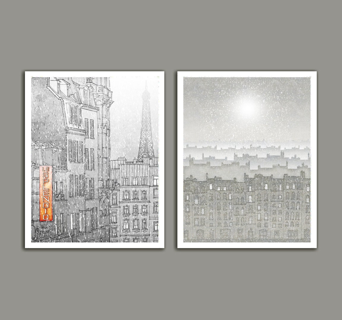 Illustration - Winter in Paris - Set of two illustrations - Fine art illustration,Art prints,Love Art Posters,Wall art,White,Snow
