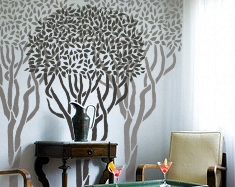Wall Stencil Reusable - TOPIARY TREE - 6.8 Ft. Tall - Home Decor