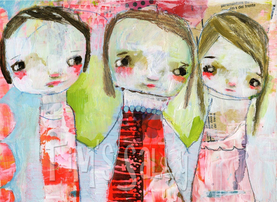 friends - mixed media art print - Together we are Strong