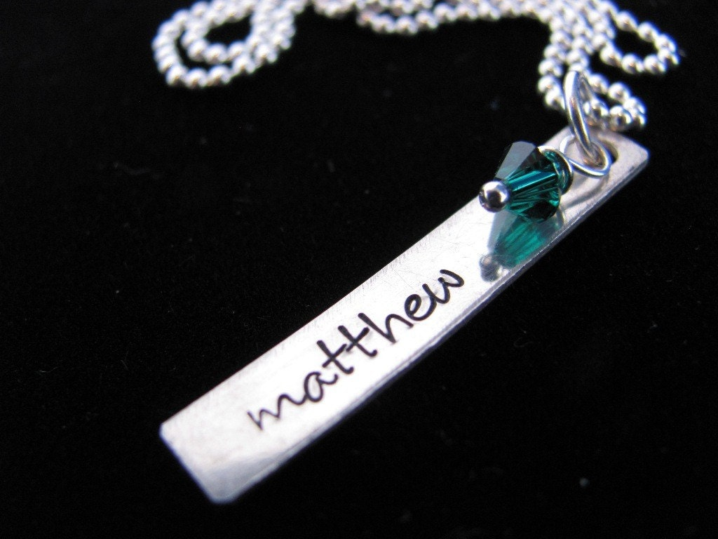 Personalized Necklace: Hand Stamped Single Regtangle Tag Necklace with Swarovski Crystal Birthstone