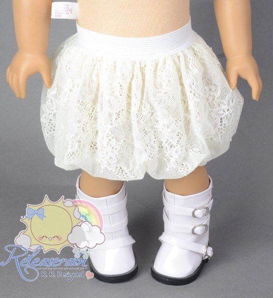 "White Elastic Banded Waist Ivory White Lace Mesh Tulle Bubble Skirt Doll Clothes Outfit for 18"" American Girl dolls"