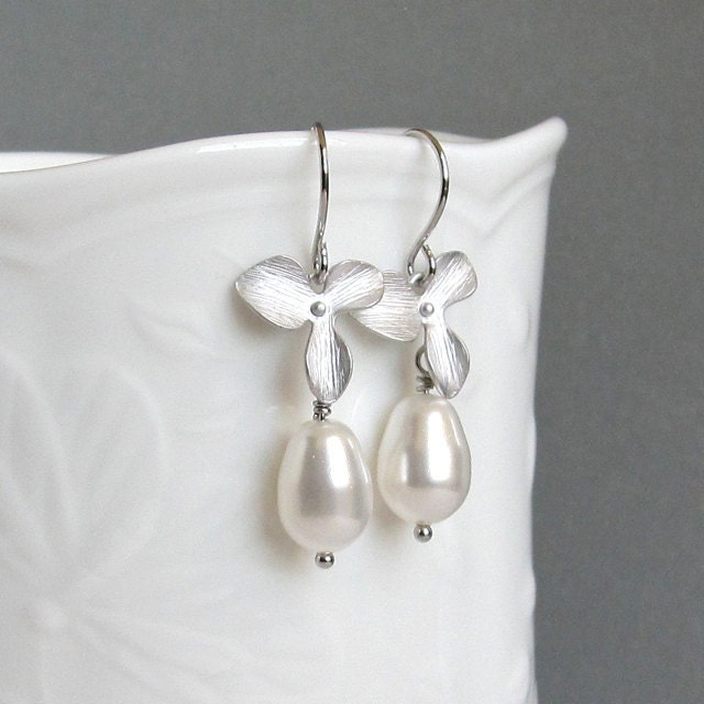 Silver orchid pearl drop bridal earrings