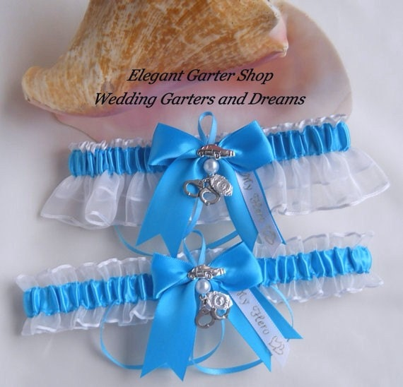 Police Officer Handcuff Charms Turquoise and White Wedding Garters