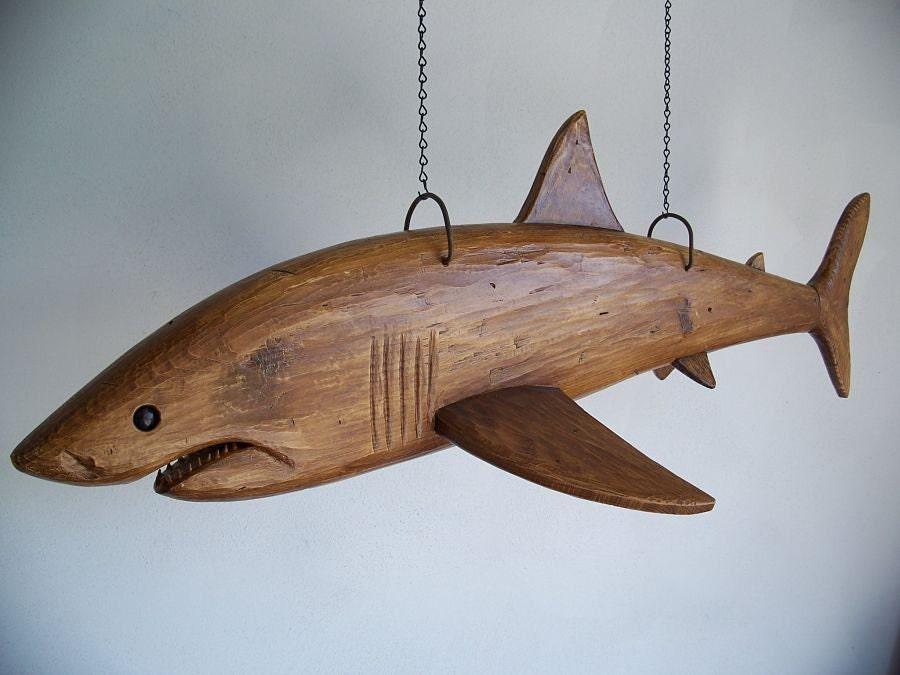 Hand Carved Great White Shark - StephanCountry
