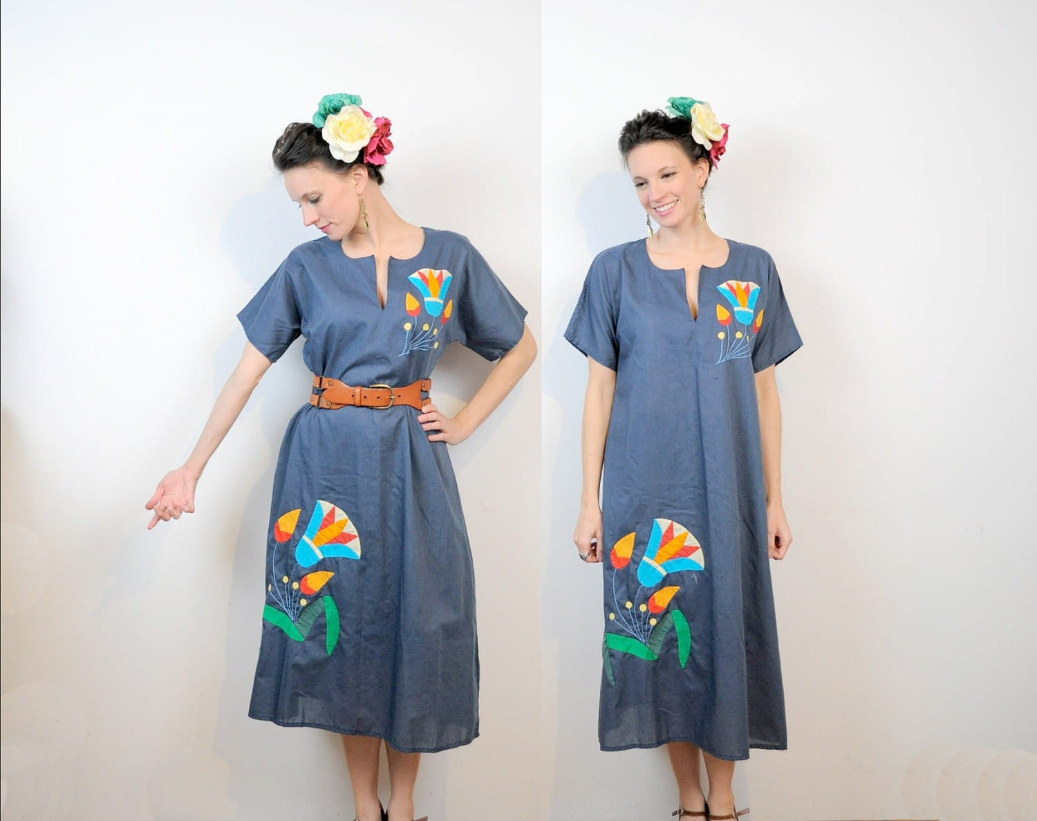 Patchwork Dress Mexican Inspired Kaftan Slate Blue Applique OSMF