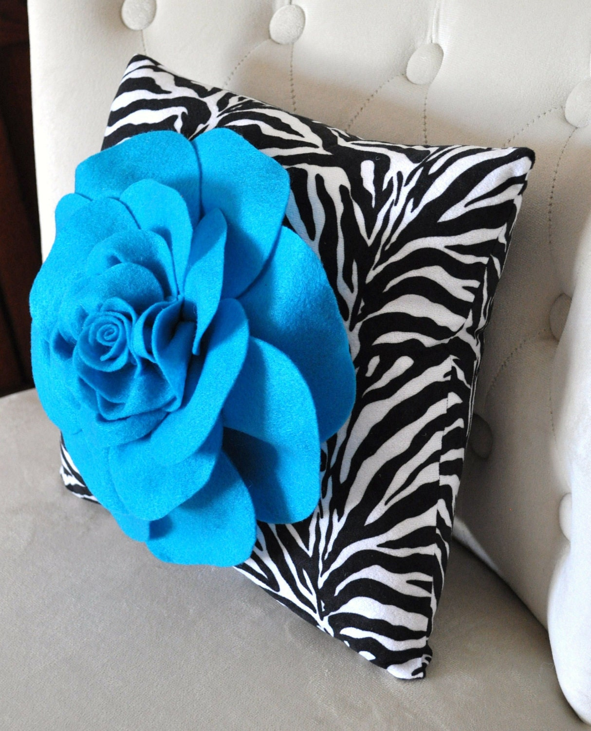 Accent Pillow Turquoise Rose on Zebra Print Throw Pillow