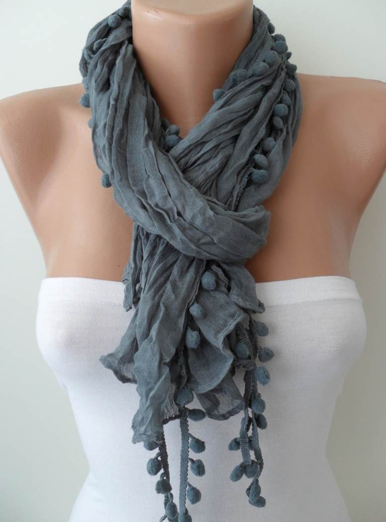 Grey Fashion Shawl / Scarf with Pompom - SwedishShop