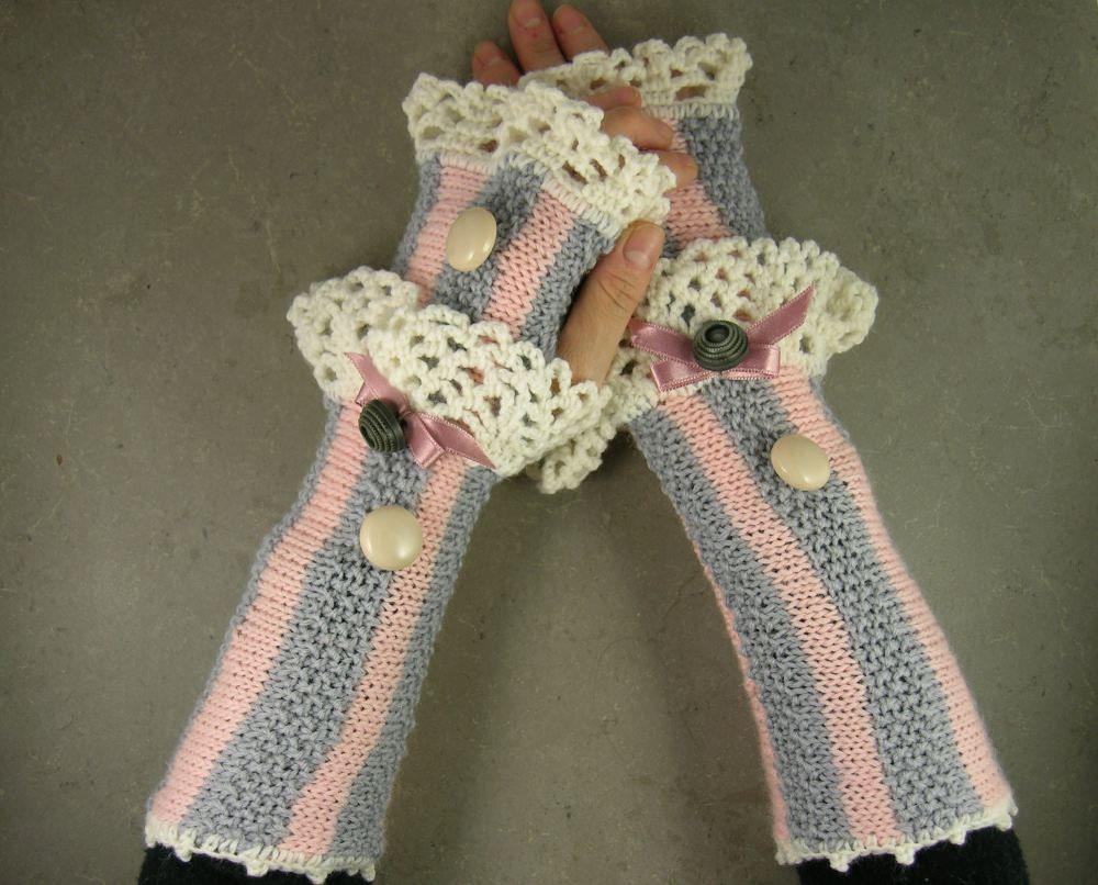 Вязаные перчатки без пальцев долго обогреватели руку без пальцев персик варежки серыми полосами белого кружева романтической викторианской tbteam therougett