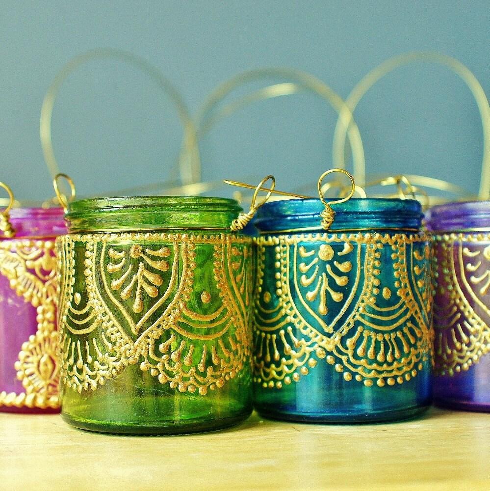 Набор из четырех фонарей марокканского обету держатели-В Fuschia, фиолетовый, бирюзовый, зеленый и стекла с золотыми вставками