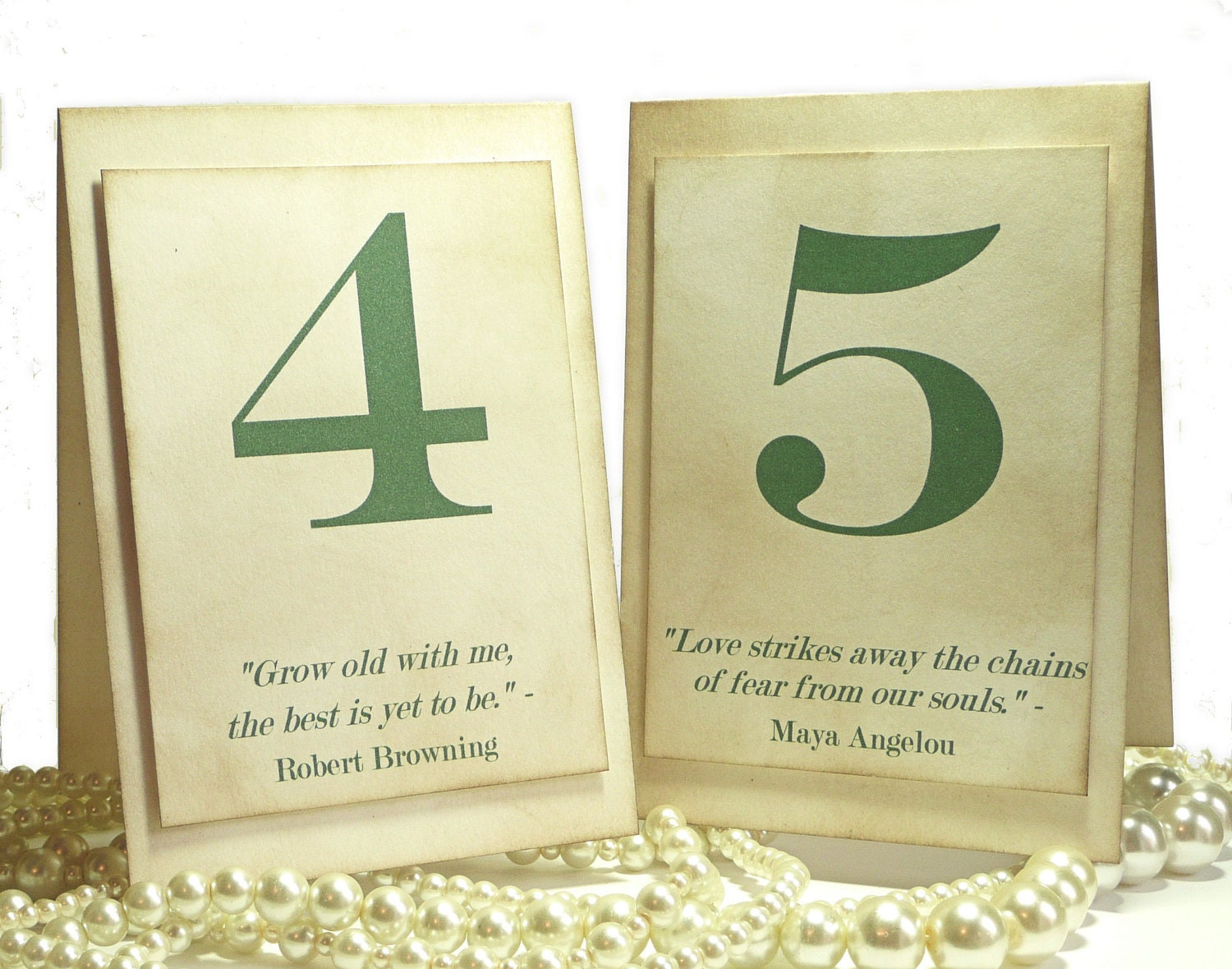 Wedding Table Numbers Quotes - Green TENTED - Vintage - UKHandmade - Your choice of Font Color - amaretto