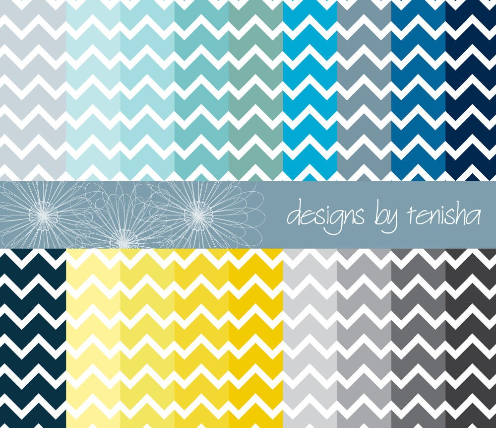 Chevron Digital Scrapbook Paper 18 pack - Yellow Blue Gray