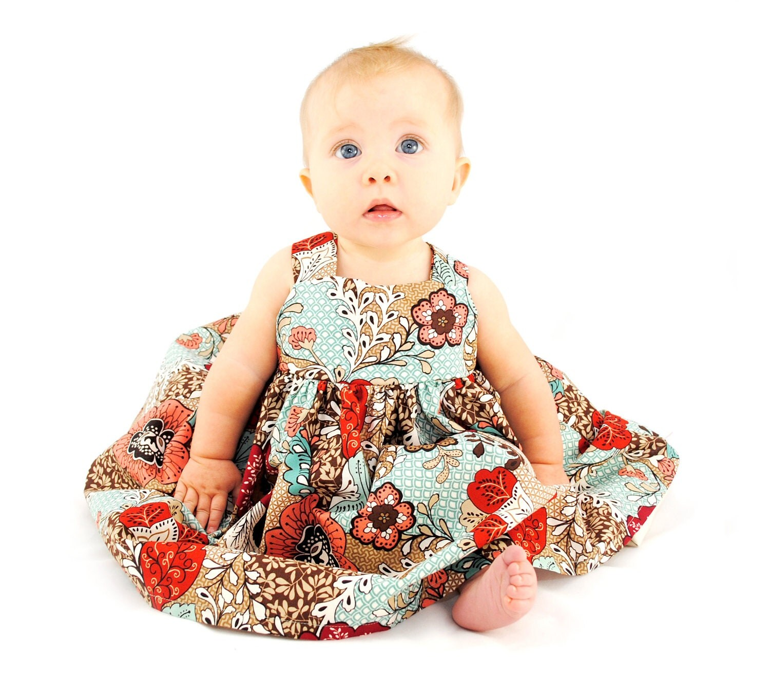 Girl Dress - Thanksgiving Collection - Fall Floral Dress - Abbey - Back Bow Dress - Matches our ties