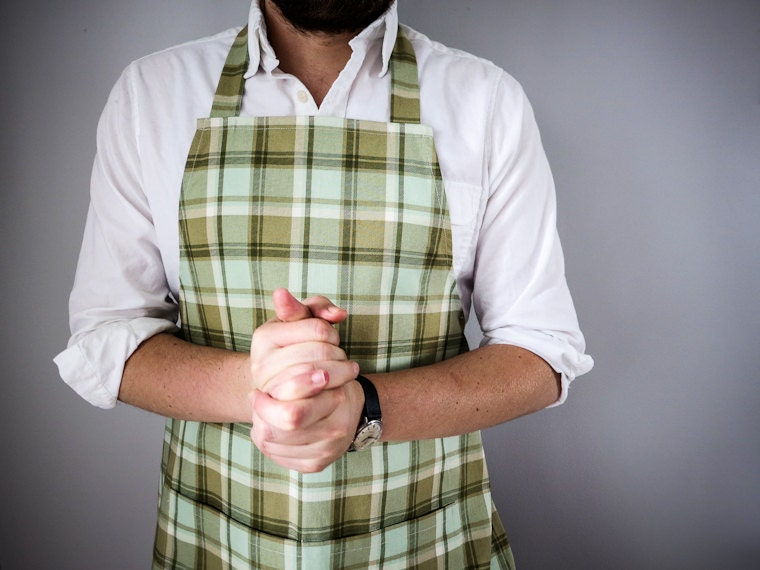 Mens Apron / Mint and Beige Plaid
