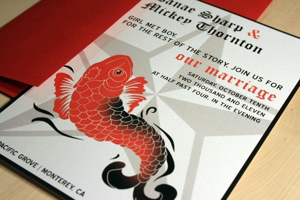 SAMPLE Koi Tattoo Inspired Wedding Invitations From vohandmade