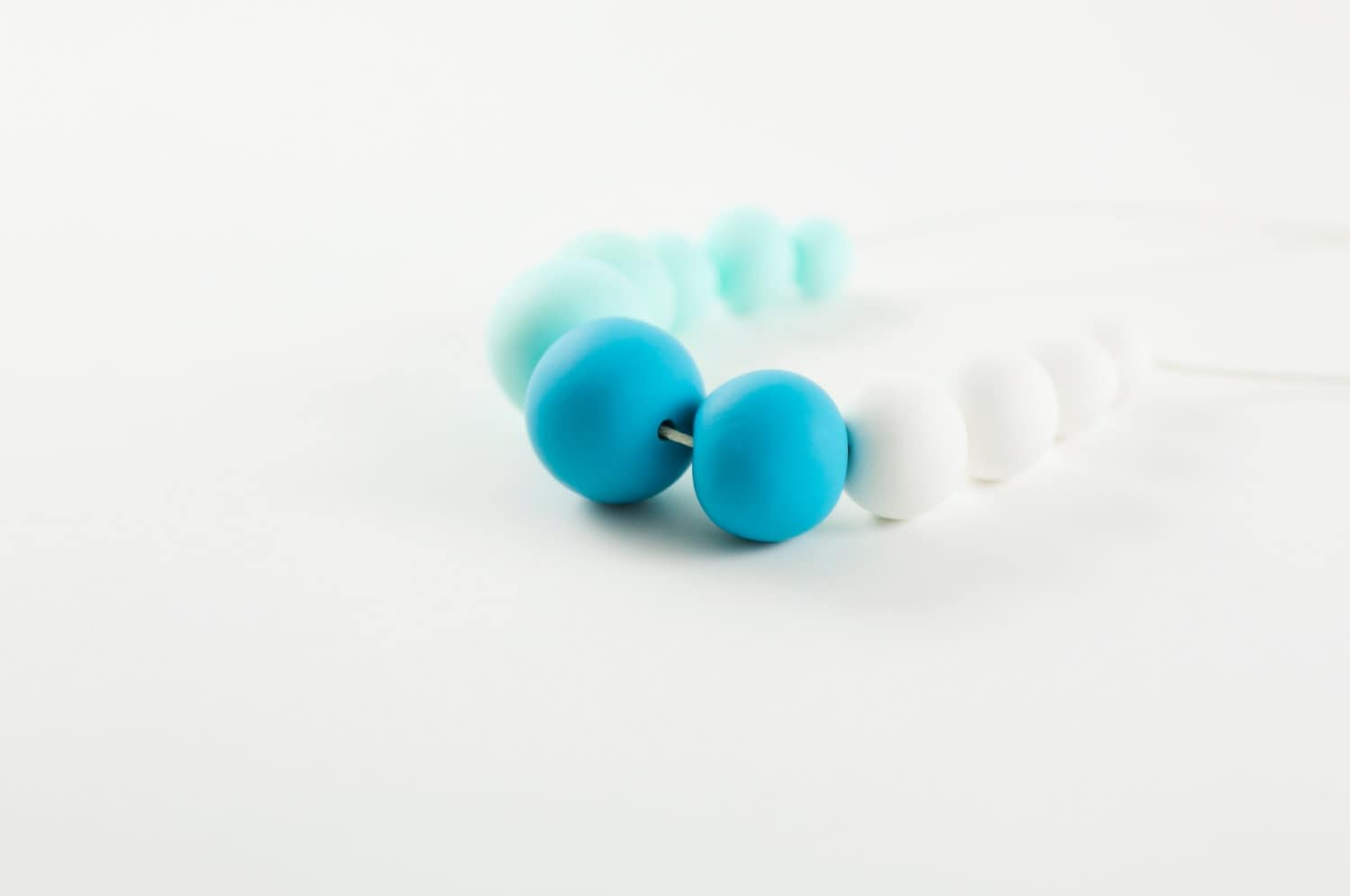 Aqua Blue, Mint and White SUMMER necklace - PitangaDesigns