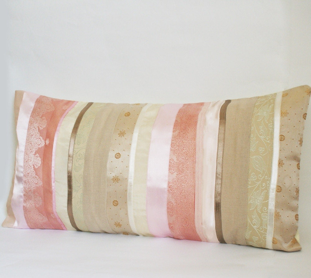 Striped Sari Pillow Cover in Pale Pink and Beige