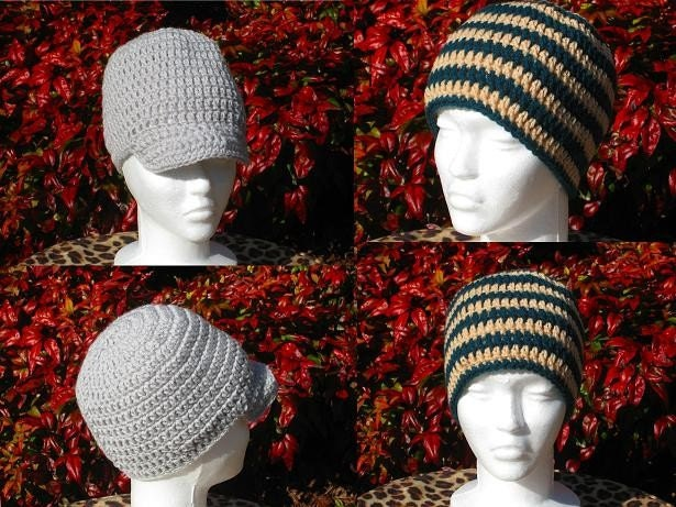 CROCHET PATTERN Beanie/Visor Beanie, Teen-Adult, Hatband Circumference 20 inches