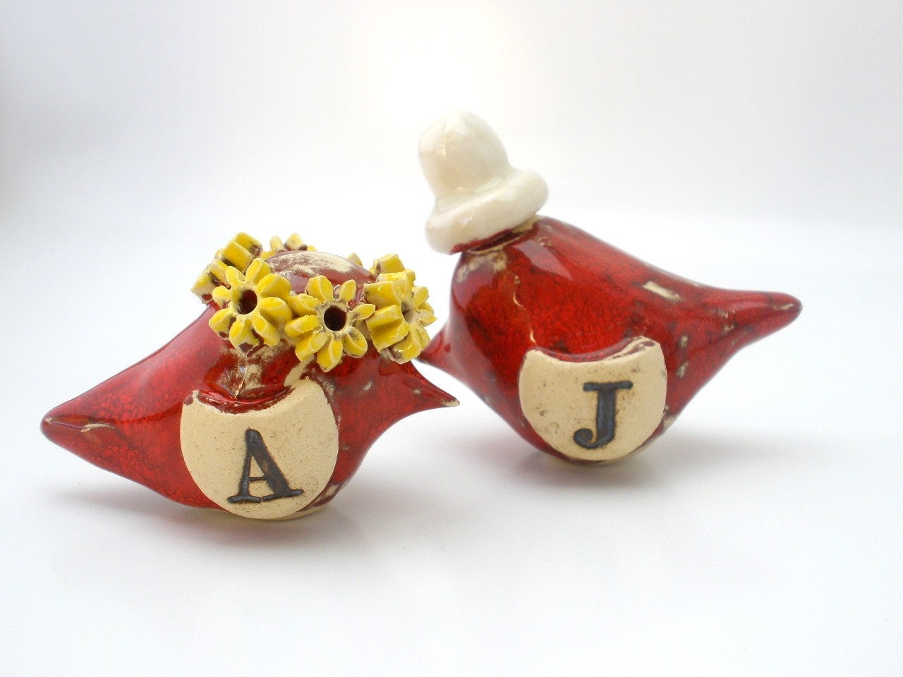 OOAK custom pair of love birds with your initials for your special day Valentine Love