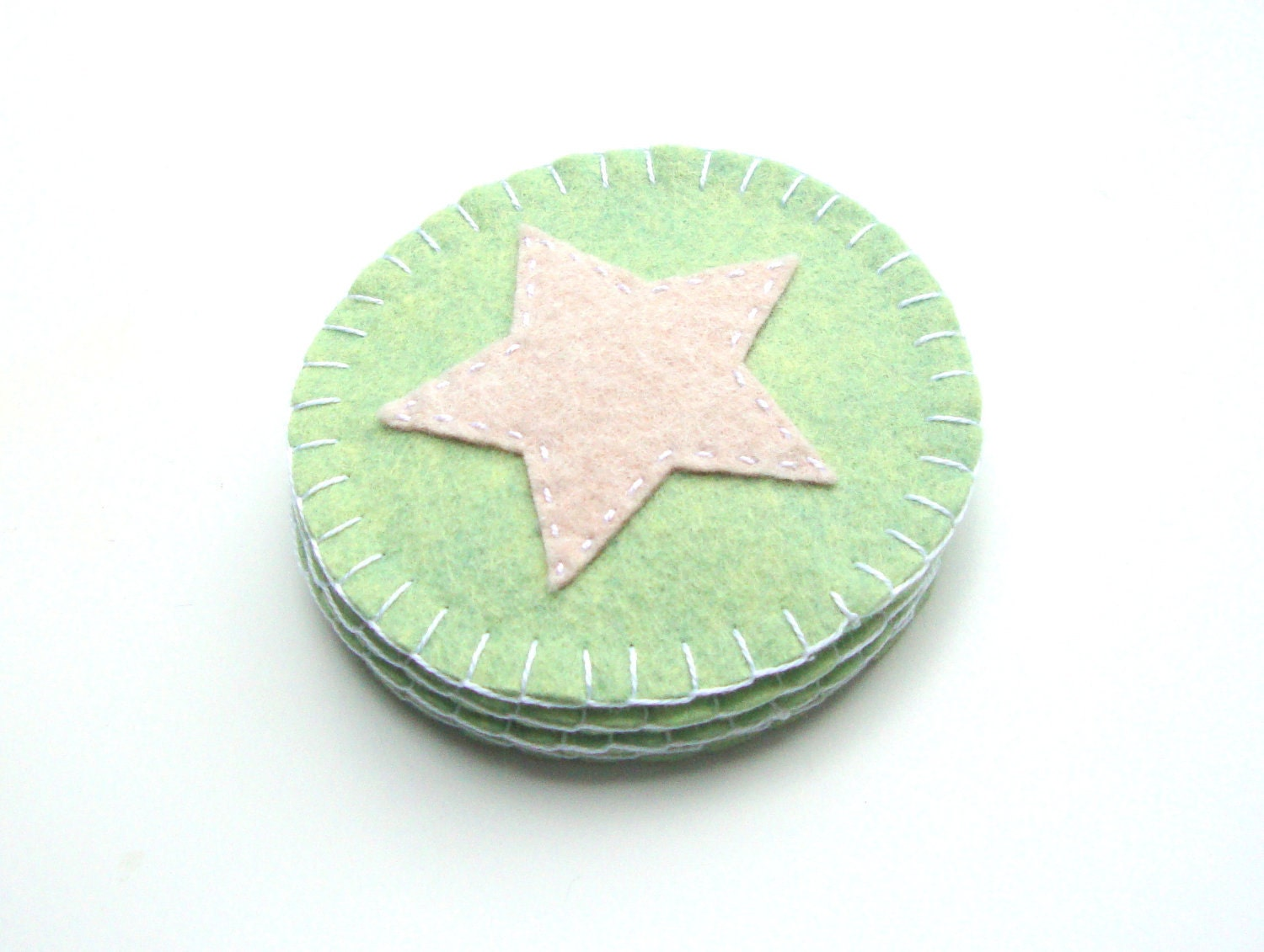 Mint Green and Beige Felt Coasters - Pastel, Star, Celestial, Handmade Home Decor - MartyMakes
