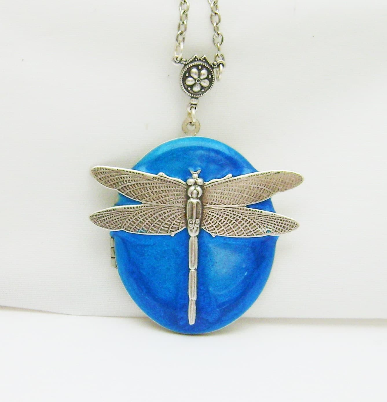 Antiqued Silver Dragonfly On  Blue Enamelled Locket. Something Blue. Wedding Locket. - Silverbird1Jewelry