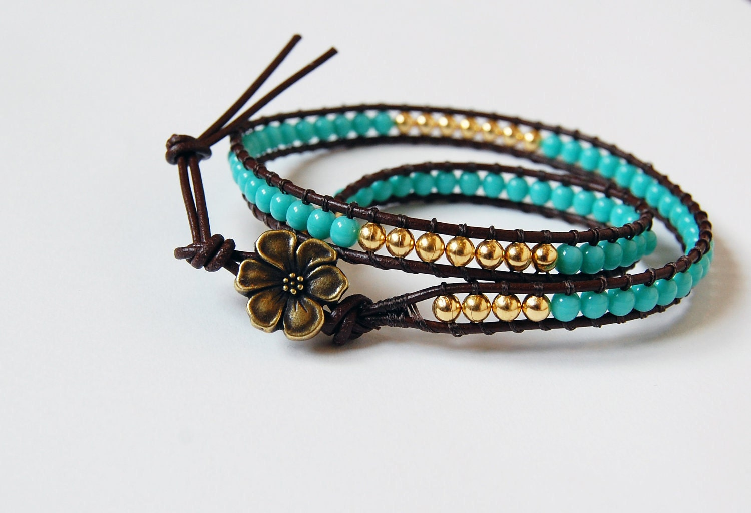 Beaded Leather Bracelet - Vivid Blue and Brass Beads on Brown Leather - beadsandbrass