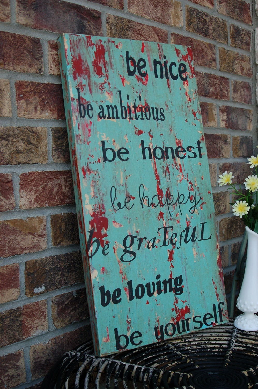 NEW very shabby chic, rustic, vintage family rules Subway Style Art Sign - take a look -