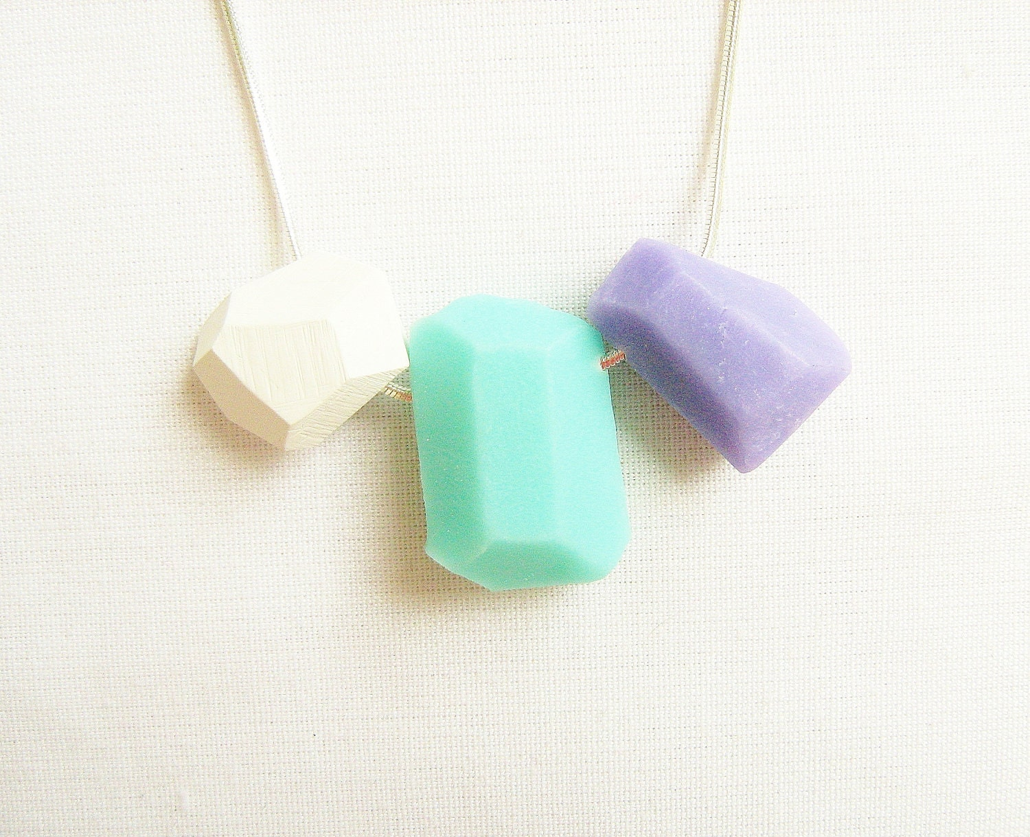 Pastel Geo Necklace in Mint, Soft Lilac and White - Rare Diamonds Collection - AlinaandT