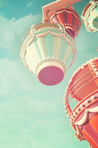 Carnival Nursery Decor, ferris wheel, vintage circus print, amusement ride, pastel, nursery print, nursery decor, shabby chic, teal, fPOE - ScarlettElla