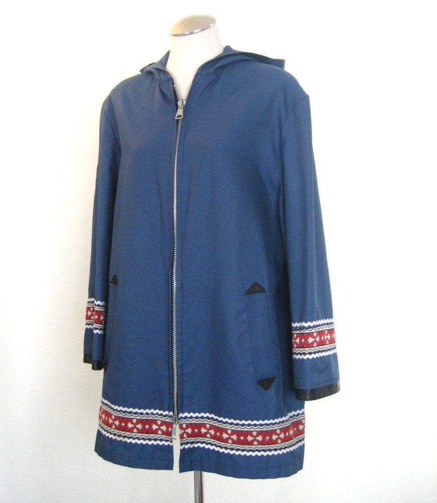 vintage Sky Blue Rain Coat with Cool Trim