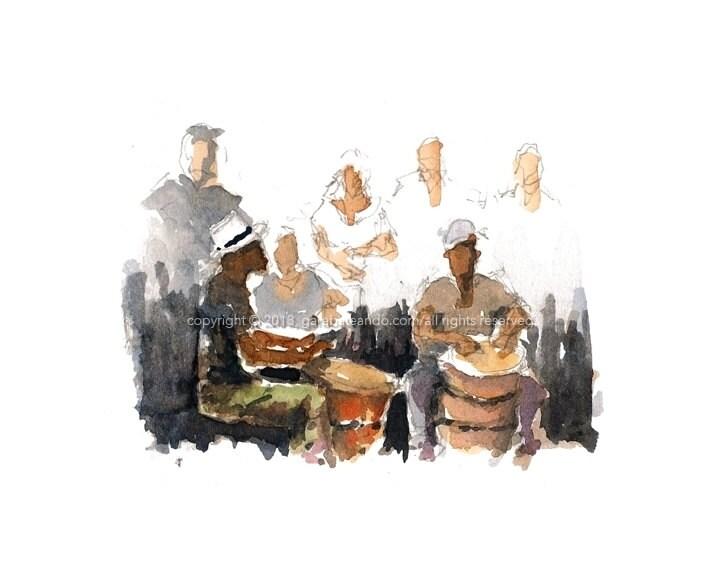 """Watercolor Sketch Print: """"Los Cepeda"""", by Luis E. Aparicio - Garabateando"""
