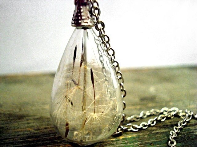 Delicate handblown glass teardrop filled with real dandelion seeds, antique silver colored necklace - VillaSorgenfrei