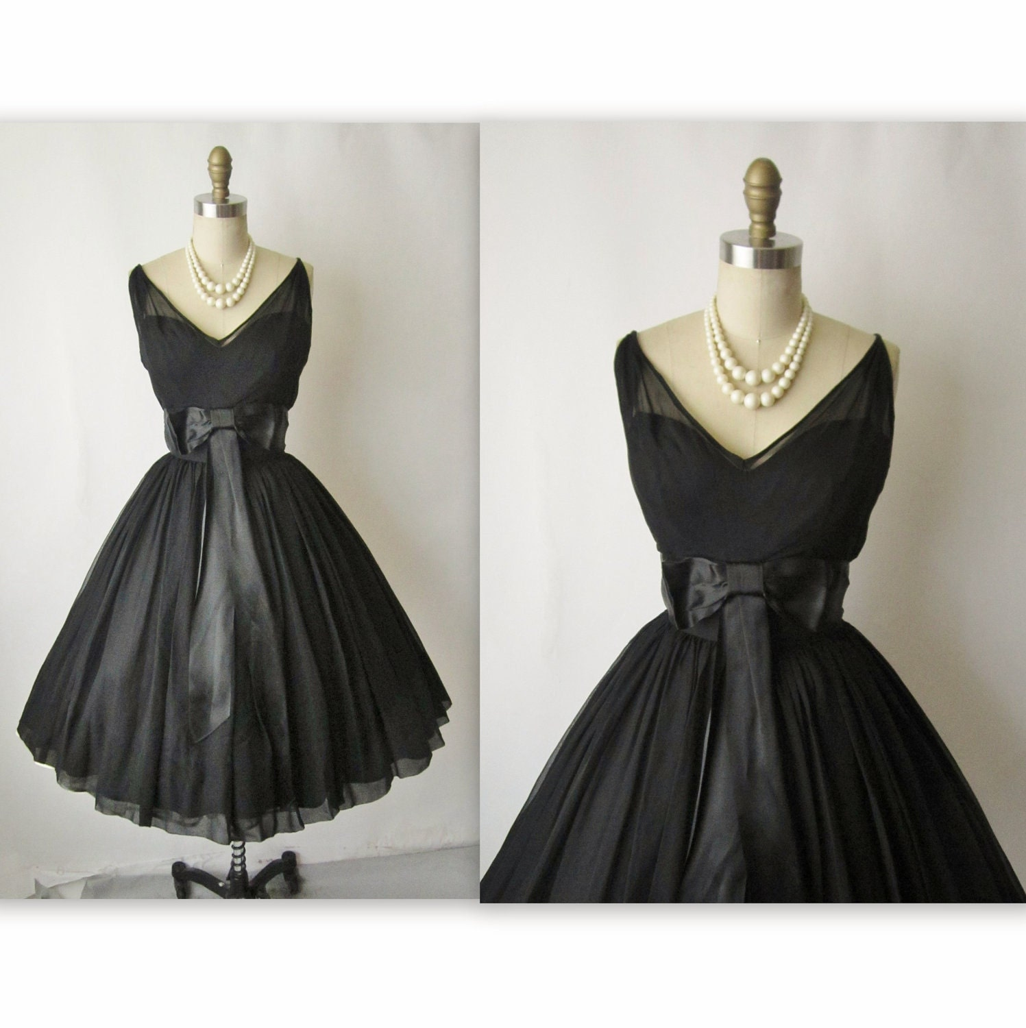 50's Cocktail Dress // Vintage 1950's Black Chiffon Full Cocktail Party Holiday Dress S M