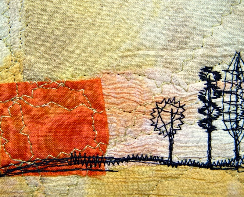 Fiber art card - Sunset