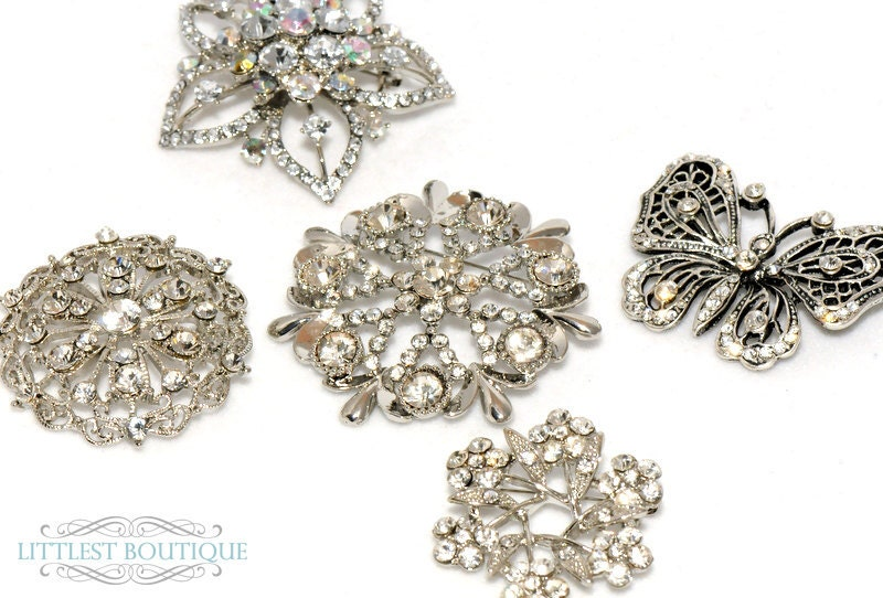 Set of 5 Rhinestone Bridal Bouquet Brooch Stems From littlestboutique