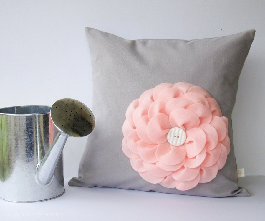 "Pastel Pink Felt Flower 16"" DECORATIVE PILLOW Gray Linen White Button by JillianReneDecor Nursery Decor Floral Baby Shower Gift Easter - JillianReneDecor"