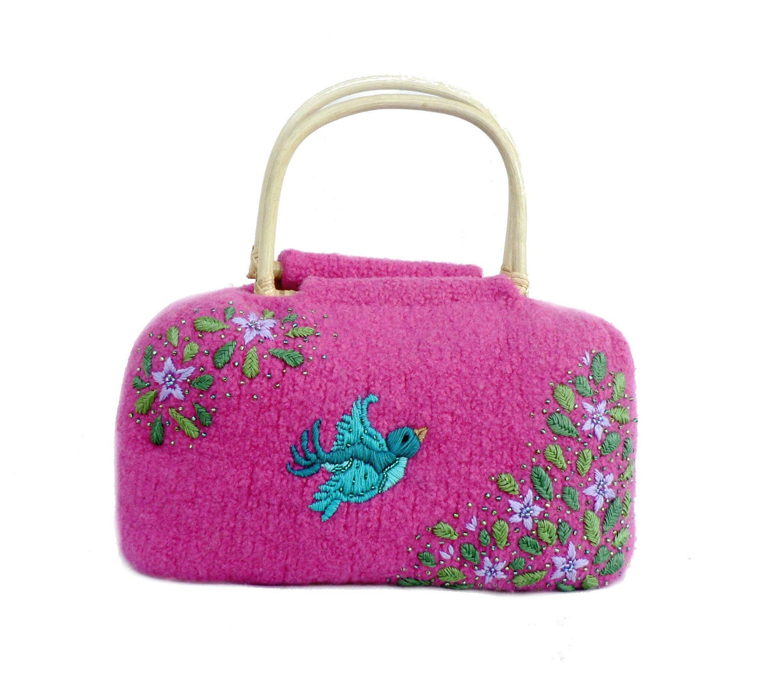 Fuchsia Felt Bag with Embroidery