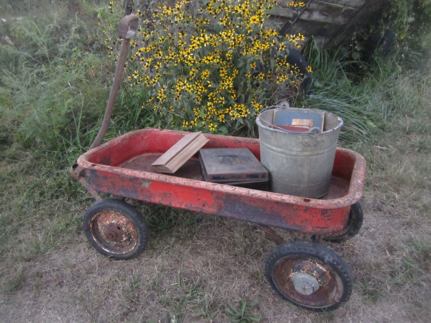 Antique Red Wagon - Full Size Child's Metal Wagon - Chippy, Rustic