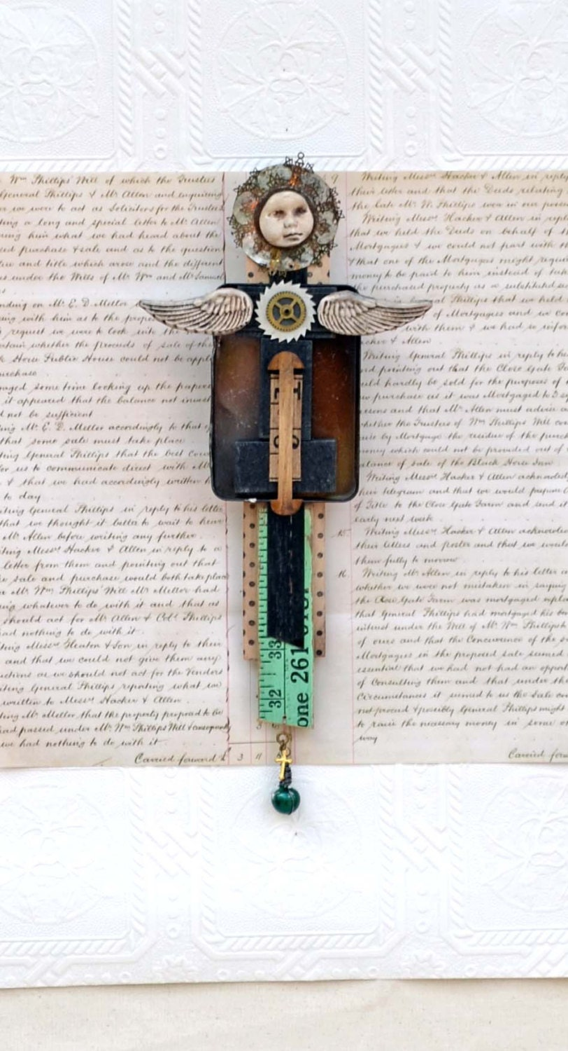 Assemblage Mixed Media Angel Cat