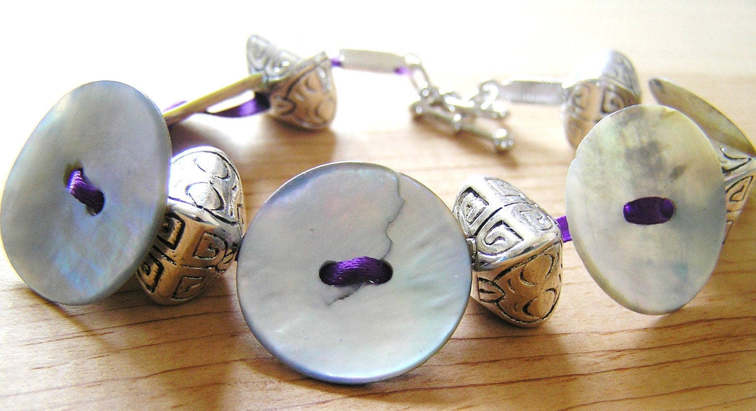 Mother of Pearl Buttons & Metalized Plastic Beads Purple Ribbon Bracelet- Great gift idea for teens and young adults