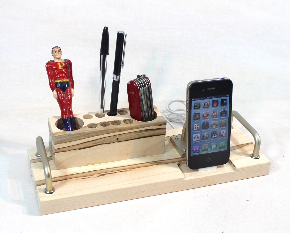 iPhone  - iPod Dock -Charger and Sync -  Desktop Station with pen holders - iPhone 5 or iPhone 4 Cable