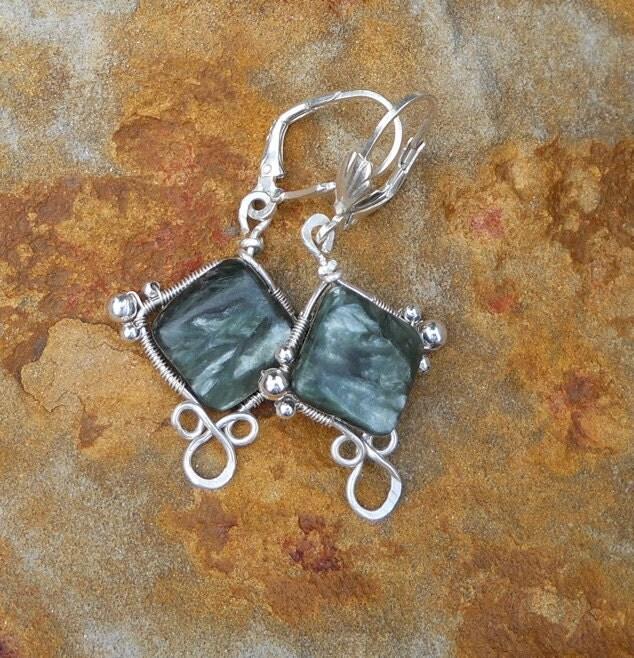 Silvery Green Seraphinite and Fine Silver Dangle Earrings - winddancerstudios