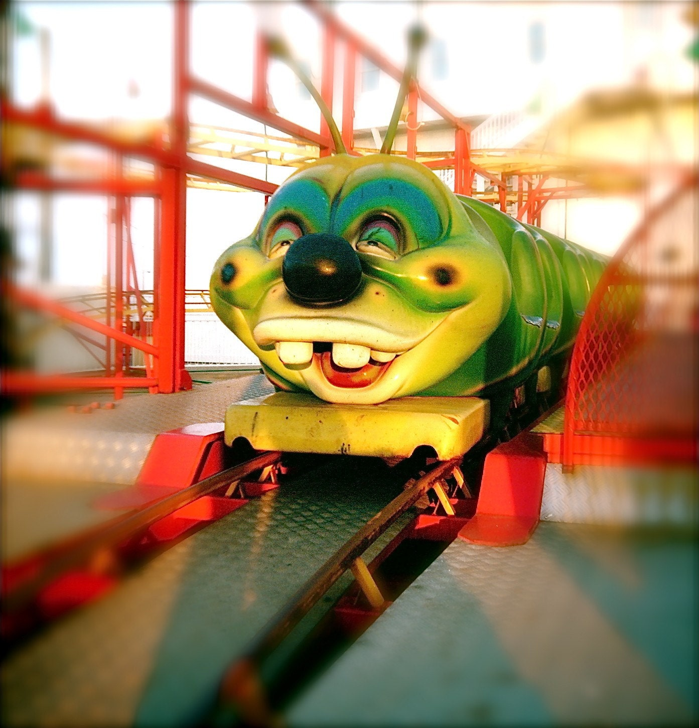 Toothy - smiling caterpillar carnival ride Fine Art Carnival Photograph, Handmade Philly team, 8x8 print - heatherexley