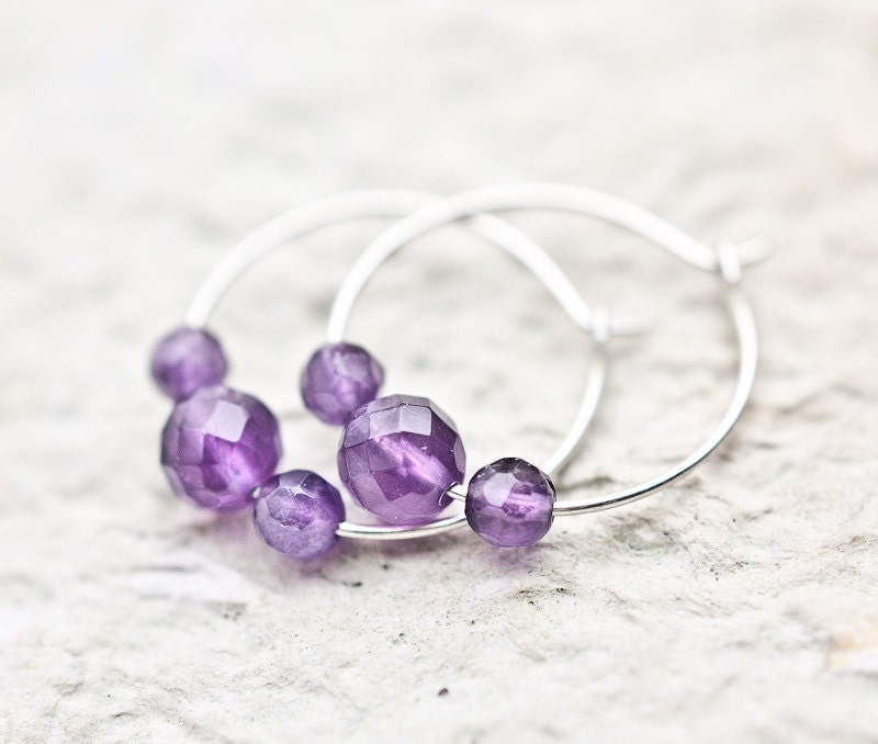 Simple Amethyst Hoops Earrings Argentium Sterling silver Purple modern jewelry summer lavender tbteam - daimblond