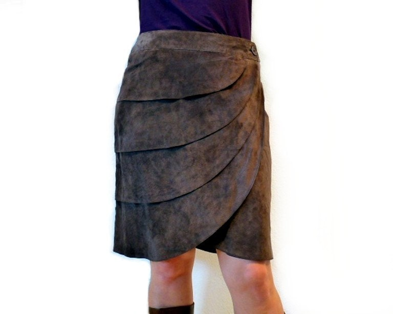 80s Suede Brown Leather Mini Skirt Cascade by KENAR Genuine Leather Spring fashion Size 8