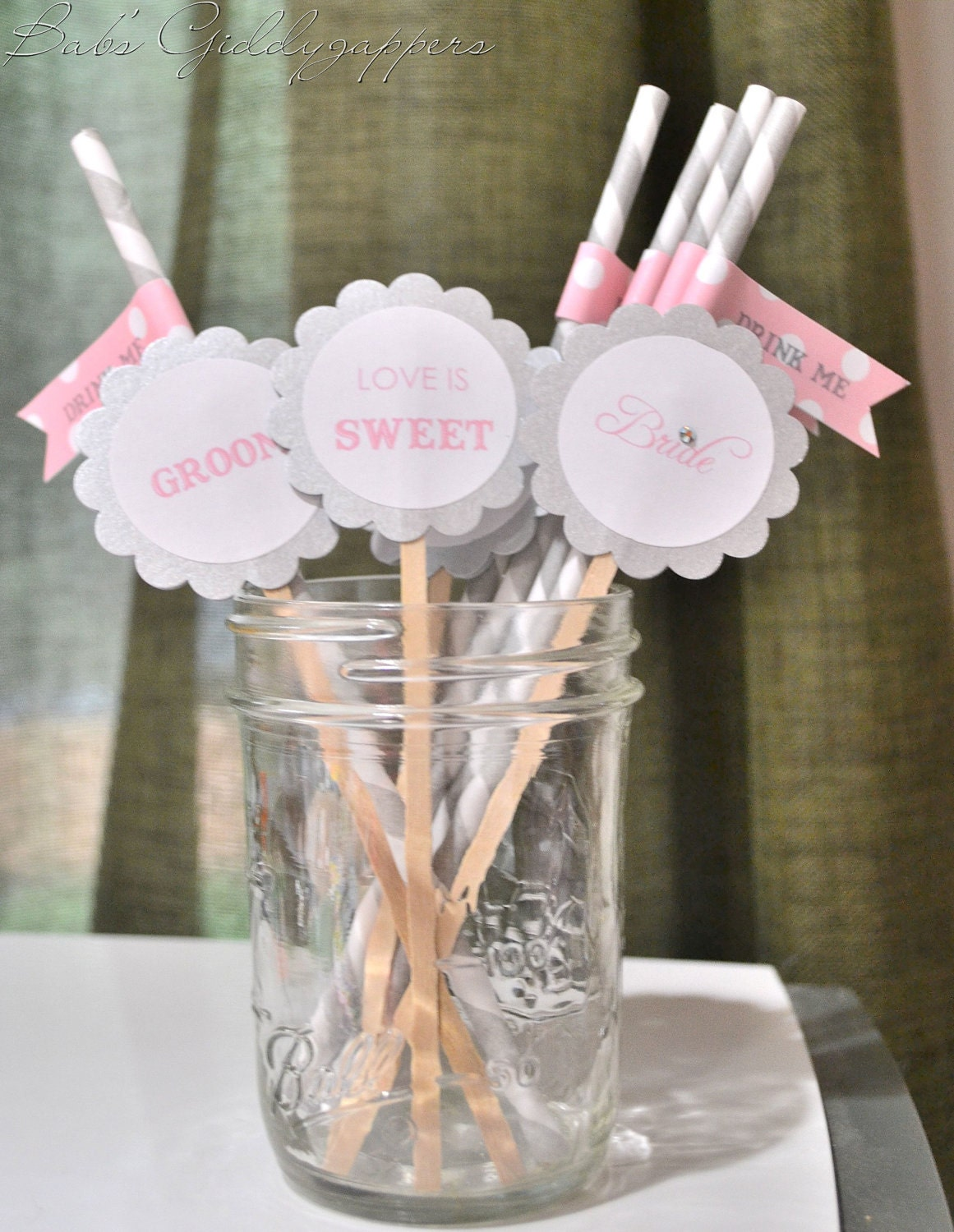 Wedding cupcake flags/drink stirrers